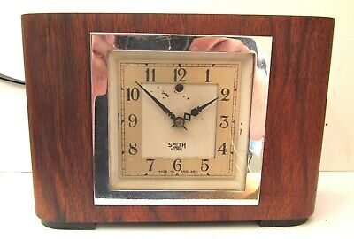 Vintage 50's Smiths Sectric Electric Art Deco Oak Mantle Clock - Working Order