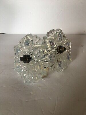 """Antique Sandwich Glass Opalescent Curtain Tie Backs LARGE 4.5"""" with brackets"""