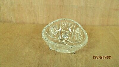 Vintage Pinwheel Crystal Glass 3 Sided Footed Candy Dish  No Maker's Marks