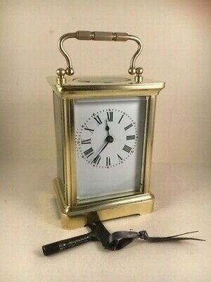 Classic antique brass carriage clock & key. Restored and serviced April 2020 .