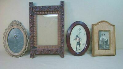 4 Antique Victorian Picture Frames Carved Wood Metal Lot