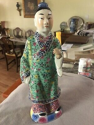 antique hand painted chinese porcelain figure