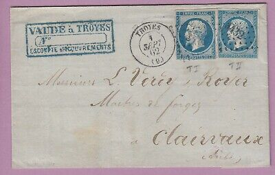 N°14A + 14B Pc Troyes Aube 2 Teintes Differentes Clairvaux Lettre Cover