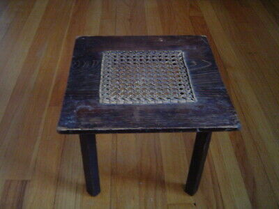Antique Small Hand Caned Footstool