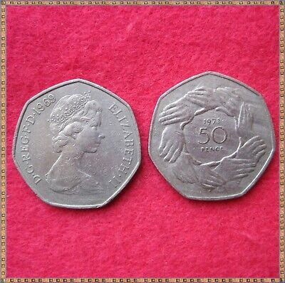 1969, 1973 EEC, 2 x ELIZABETH II LARGE SIZE 50 NEW PENCE COINS, circulated.