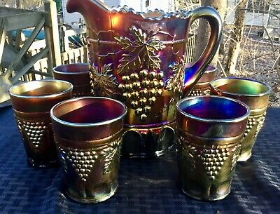 Carnival Beautiful Northwood Purple Grape & Cable Seven Peice Water Set
