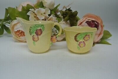 Vintage Carlton Ware Primula Creamer Jug and Open Sugar Bowl Australian Design