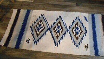 "Vintage Mexico Handwoven Wool Rug  Southwestern Native Design 62"" x 26"" Tan Blue"