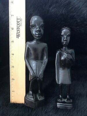 Set Of 2 Hand Carved African Wooden Ebony Figures Man And Woman Carrying A Baby