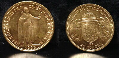 Hungary A 1903 20 Gold Korona--Bu Gold--Depicts Emperor Joseph I And Two Angels