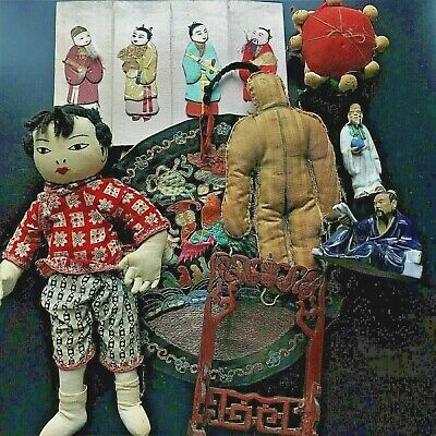 8 Pc Vintage Antique Chinese Cloth Doll Textile Embroidery Mud Men Wood Carving