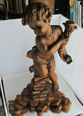 Great  Antique Hand Carved Black Forest  Cupid Wood Figure