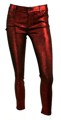 RtA $1,675 Metallic Red Stretch Lambskin Suede Leather Pants 26