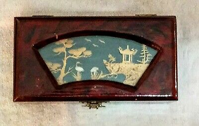 (#03) Vintage Carved Cork Lacquer Finish Jewelry Box People's Republic of China