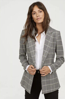 H and M Women Checkered Tweed Blazer Size 38 Business Workwear Office