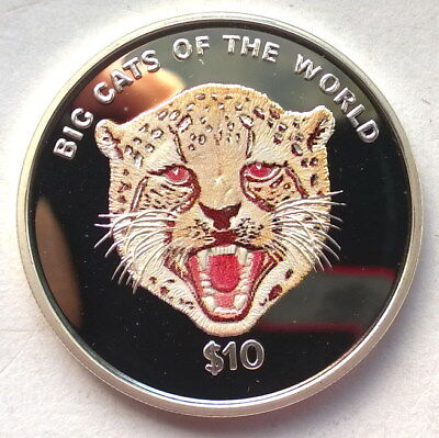 Sierra Leone 2001 Cheetah 10 Dollars Colour Silver Coin,Proof