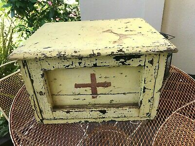 Depression Era Australian Original-First Aid-Cupboard-Yellow crackled paint-1940
