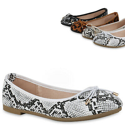 Damen Ballerinas Animal Print Slipper Freizeit Slip On 830840 Trendy Neu