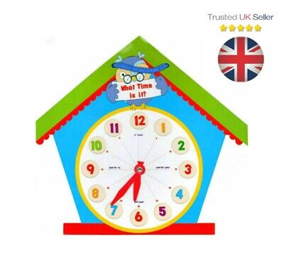 Childrens LEARN TO TELL THE TIME Clock Educational Learning Home School ECLO