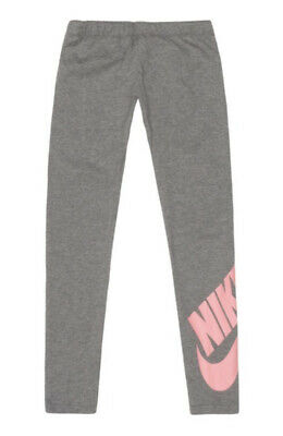Girls Nike Grey Pink Logo Leg Nike Sports Workout Leggings Lounge Size 13-15