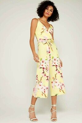 New Quiz Floral Yellow Mix Cropped Culottes Jumpsuit UK 14