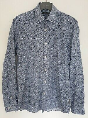 Mens French Connection Small Shirt Blue And White Floral Retro style