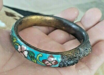 Antique Vintage Chinese Export Cloisonne Floral Enamel Brass Foo Dog Bracelet