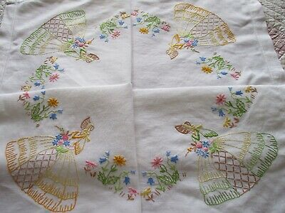 Vintage Hand Embroidered Linen Tablecloth-BEAUTIFUL CRINOLINE LADIES & FLORAL'S