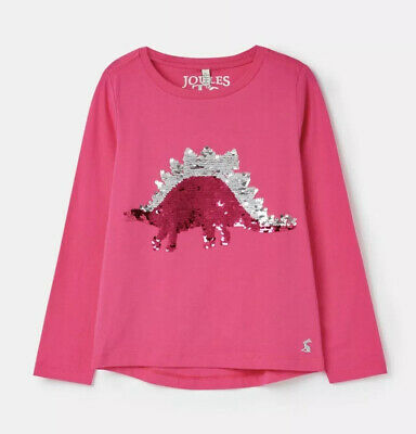 NEW Joules Reversible Sequin Dinosaur Top 7-8Yrs BNWT Girls Clothing Long Sleeve