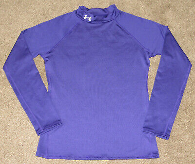 Girls Under Armour Fitted Cold Gear Purple Mock T Long Sleeve Shirt sz YXL