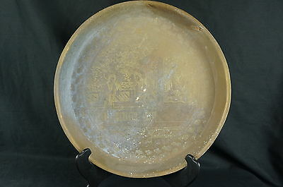 Good Antique Chinese hand etched heavy Brass Tray ca. 1900 14""