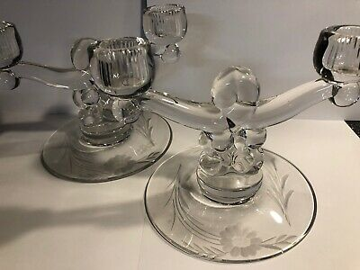 2 Antique Art Deco Glass Candlestick Holders-Double Arm Etched Flowers