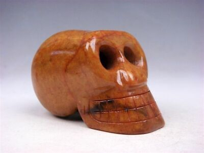 Vintage Nephrite Jade Carved Sculpture Human Head Skull Skeleton #12041902