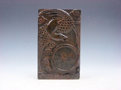Vintage Nephrite Jade Stone Ink Slab Shaped Paperweight Flying Phoenix #08191910
