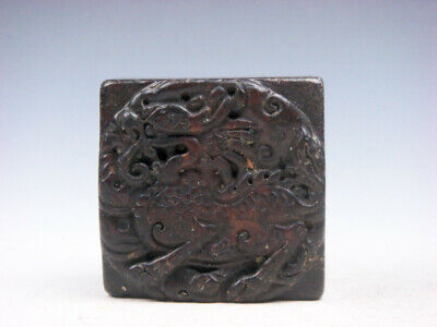 Old Nephrite Jade Stone Carved Seal Paperweight Monster Kirin & Coins #04042013