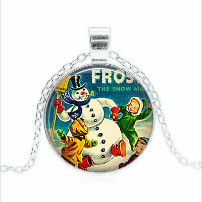 Frosty the Snowman Tibet silver Glass dome Necklace chain Pendant Wholesale