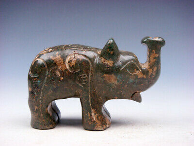 Old Nephrite Jade Stone Carved Sculpture Elephant w/ Nose Up #09241903