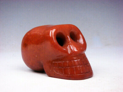 Vintage Nephrite Jade Carved Sculpture Human Skull Skeleton #02281917