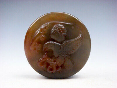 Old Nephrite Jade Stone Carved Seal Paperweight Eagle Catching Snake #03282008