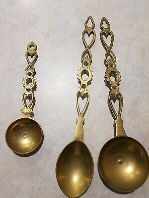 Set Of 3 Brass Welsh Love Spoons