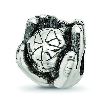 .925 Sterling Silver World in Hands Bead