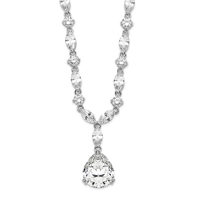 Cheryl M Sterling Silver 15in Rhodium-plated Childs Glass Simulated Emerald /& CZ 4-leaf Clover 15in Necklace
