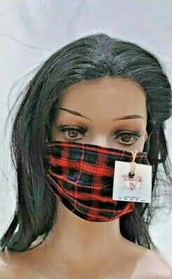 Handmade facemask Kenya Masai checked fabric nose, mouth cover one layer fabric