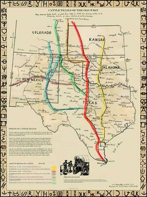 """ANTIQUE TEXAS MAP FRAMED /""""The Lonesome Dove~Comanche Moon~Great Trails/"""""""