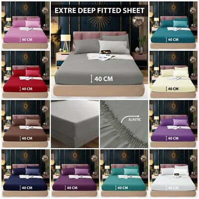 Extra Deep 40cm Fitted Sheet Bed Sheets 100/% Poly Cotton Easy Care King Size