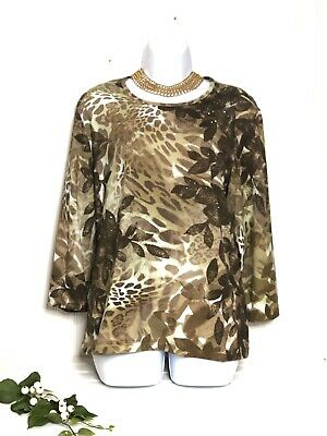 Chicos Zenergy Brown Animal Print Blouse Size 3 14 L