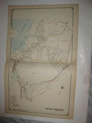 Large Vintage Antique 1917 Stony Brook Suffolk County New York Handcolored Map