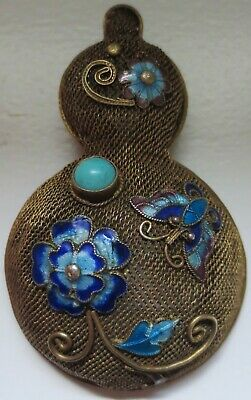 Chinese Vermeil Enamel Silver Vase Brooch Pin with Turquoise Stone 1950s-1960s