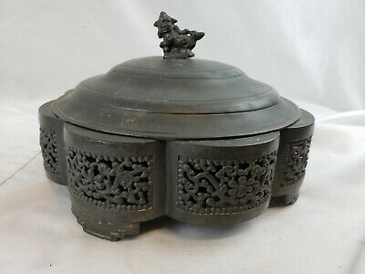 Great old chinese pewter covered box, detailed 1950s?