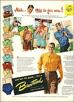 1950s vintage Ad BRENTWOOD Sportswear , men's shorts jackets shirts 040520